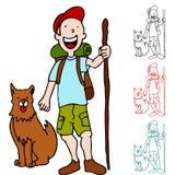 Uomo che fa un'escursione con il cane illustrazione vettoriale