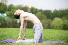 Uomo che fa yoga in natura Immagini Stock