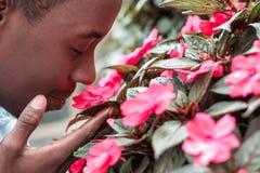 Uomo che fiuta i fiori Fotografie Stock Libere da Diritti
