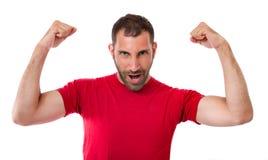 Uomo che gesturing vittoria Fotografie Stock Libere da Diritti