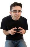 Uomo che gioca i video giochi Fotografie Stock