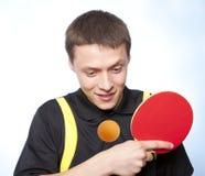 Uomo che gioca il pong di rumore metallico Immagini Stock Libere da Diritti