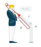Uomo che gioca trombone illustrazione di stock