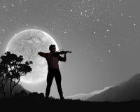 Uomo che gioca violino Fotografia Stock Libera da Diritti