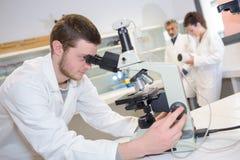 Uomo che guarda tramite il microscopio Fotografie Stock Libere da Diritti