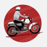 Uomo che guida motociclo classico Immagini Stock Libere da Diritti