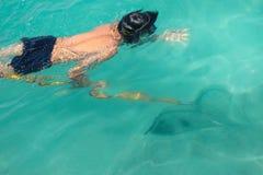 Uomo che guida nell'ambito del ritrovamento dell'acqua e che cerca animale acquatico nel mare fotografia stock