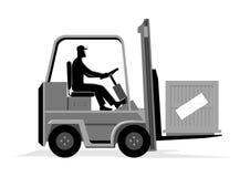 Uomo che guida un carrello elevatore illustrazione vettoriale