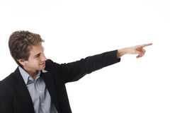 Uomo che indica con il suo dito Fotografia Stock