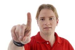 Uomo che indica con la barretta Fotografie Stock Libere da Diritti