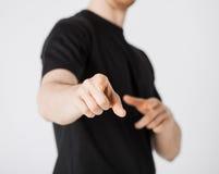 Uomo che indica il suo dito voi Fotografie Stock Libere da Diritti