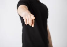 Uomo che indica il suo dito voi Fotografia Stock Libera da Diritti