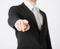 Uomo che indica il suo dito voi Fotografie Stock