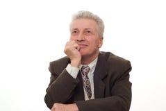 uomo che indica verso l'alto sul bianco Immagine Stock Libera da Diritti