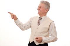 uomo che indica verso l'alto sul bianco Immagini Stock