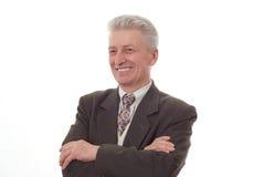 Uomo che indica verso l'alto sul bianco Fotografie Stock Libere da Diritti