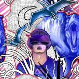 Uomo che indossa i vetri di VR fra i dinosauri, la siluetta umana della maglia e le piante fantastiche illustrazione di stock