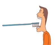 Uomo che lava i suoi denti con tootbrush enorme illustrazione vettoriale