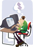Uomo che lavora al computer portatile Fotografie Stock Libere da Diritti