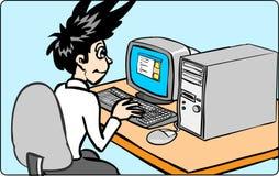 Uomo che lavora con il calcolatore Fotografia Stock