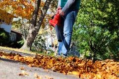Uomo che lavora con il ventilatore di foglia: le foglie stanno turbinande su e giù un giorno soleggiato Immagini Stock