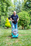 Uomo che lavora nell'erba di taglio del giardino con la falciatrice da giardino Fotografie Stock