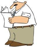 Uomo che legge il documento Fotografie Stock Libere da Diritti