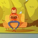 Uomo che legge l'illustrazione della bibbia Fotografia Stock