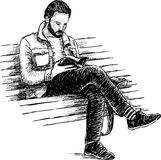 Uomo che legge un libro illustrazione vettoriale