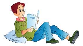 Uomo che legge un libro, illustrazione Fotografia Stock Libera da Diritti