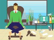 Uomo che medita nell'ufficio Fotografia Stock