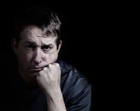 Uomo che mostra depressione Fotografie Stock Libere da Diritti