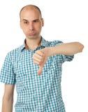 Uomo che mostra il suo pollice giù Fotografie Stock