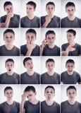 Uomo che mostra le emozioni o le espressioni differenti Fotografie Stock Libere da Diritti