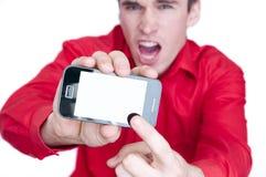 Uomo che mostra telefono astuto Fotografie Stock