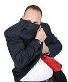 Uomo che nasconde il suo fronte Fotografie Stock Libere da Diritti