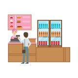 Uomo che ordina dal cassiere In Pink Uniform, Person Having sorridente un dessert nell'illustrazione dolce di vettore del caffè d Immagini Stock