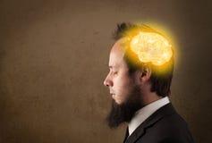 Uomo che pensa con l'illustrazione d'ardore del cervello Fotografia Stock Libera da Diritti