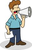 Uomo che per mezzo del megafono Fotografia Stock