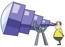 Uomo che per mezzo di un telescopio enorme royalty illustrazione gratis