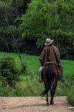 Uomo che permuta sul cavallo nelle montagne Fotografia Stock