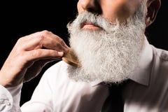 Uomo che pettina barba lunga fotografia stock libera da diritti