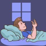 Uomo che pone a letto facendo uso del telefono illustrazione vettoriale