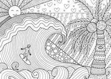 Uomo che pratica il surfing nel bello oceano illustrazione vettoriale