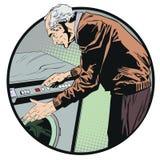 Uomo che preme bottone della lavatrice Illustrazione di riserva Fotografie Stock