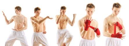 Uomo che prepara l'insieme del taekwondo Immagini Stock