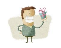 Uomo che presenta un regalo Fotografia Stock Libera da Diritti