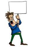 Uomo che protesta con il segno Fotografia Stock
