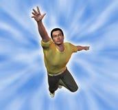 Uomo che raggiunge per le altezze Fotografia Stock Libera da Diritti