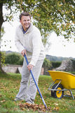 Uomo che rastrella i fogli di autunno Fotografia Stock